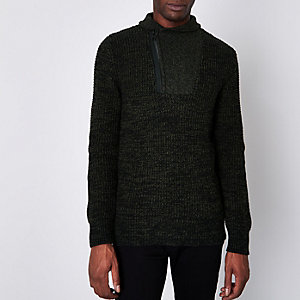 Jack & Jones Core grey knit high neck jumper