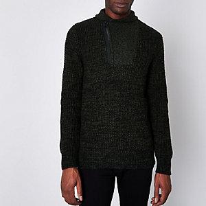 Jack & Jones Core grey knit high neck jumper