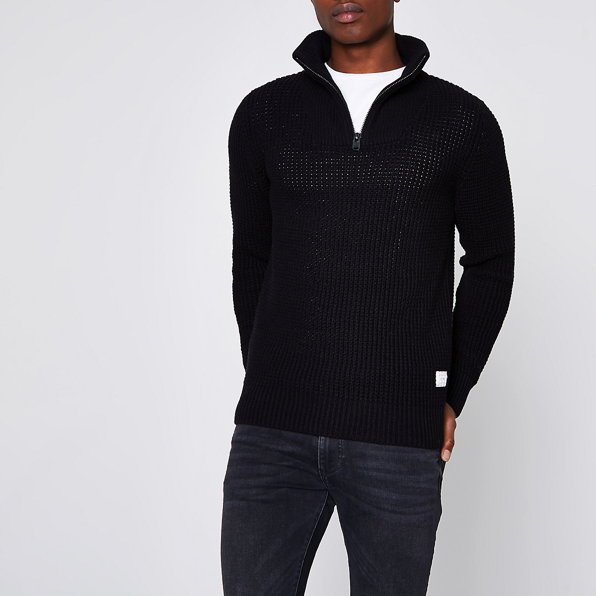 Jack & Jones Core black knit high neck jumper