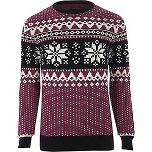 Red Jack & Jones Fairisle Christmas jumper