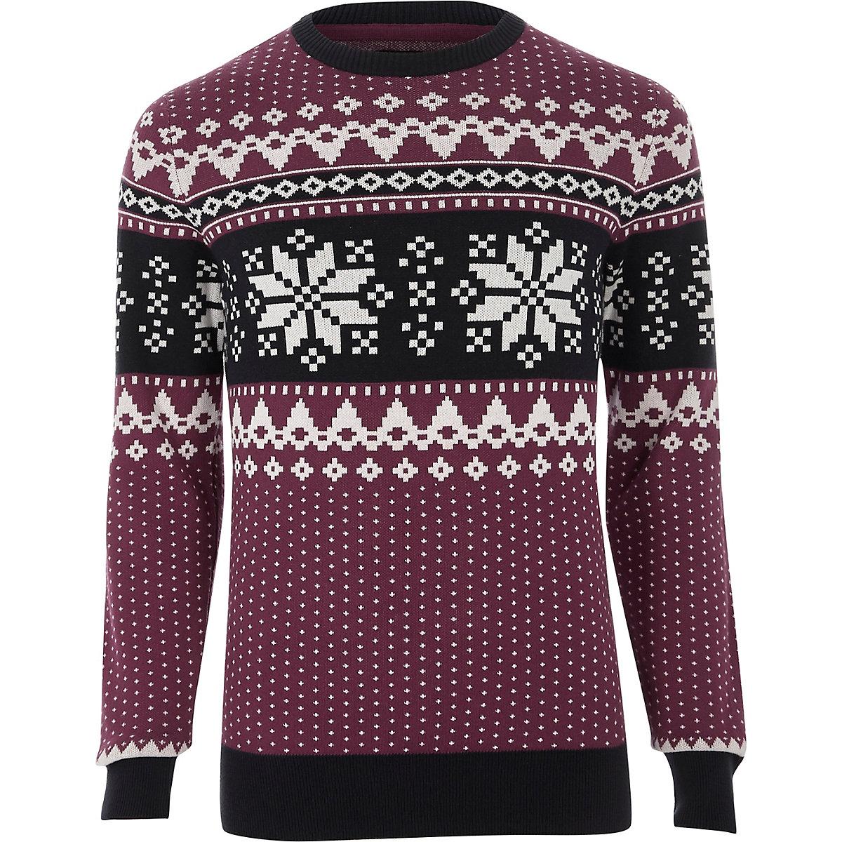 Jack & Jones red Fairisle Christmas sweater