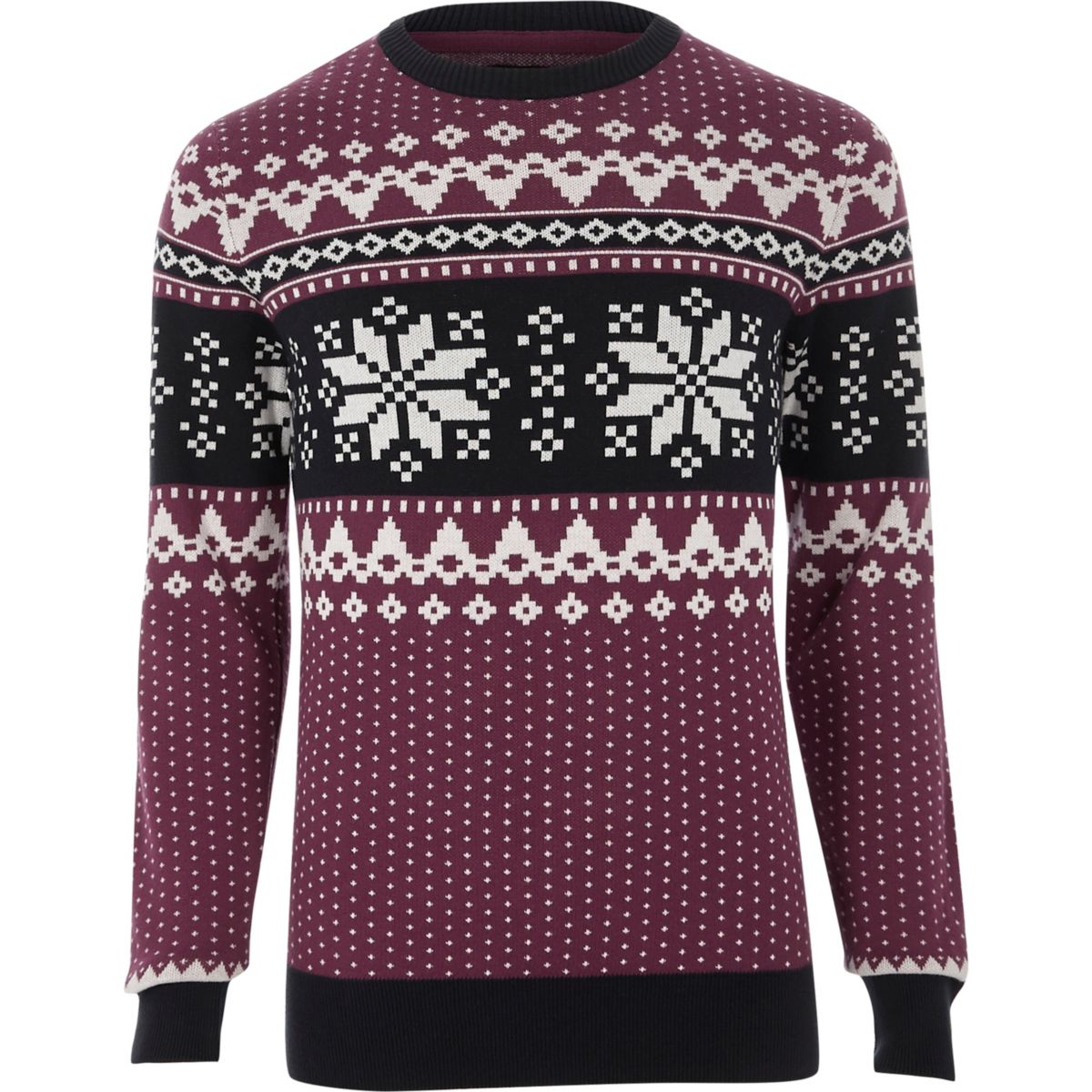 Jack & Jones red Fairisle Christmas sweater