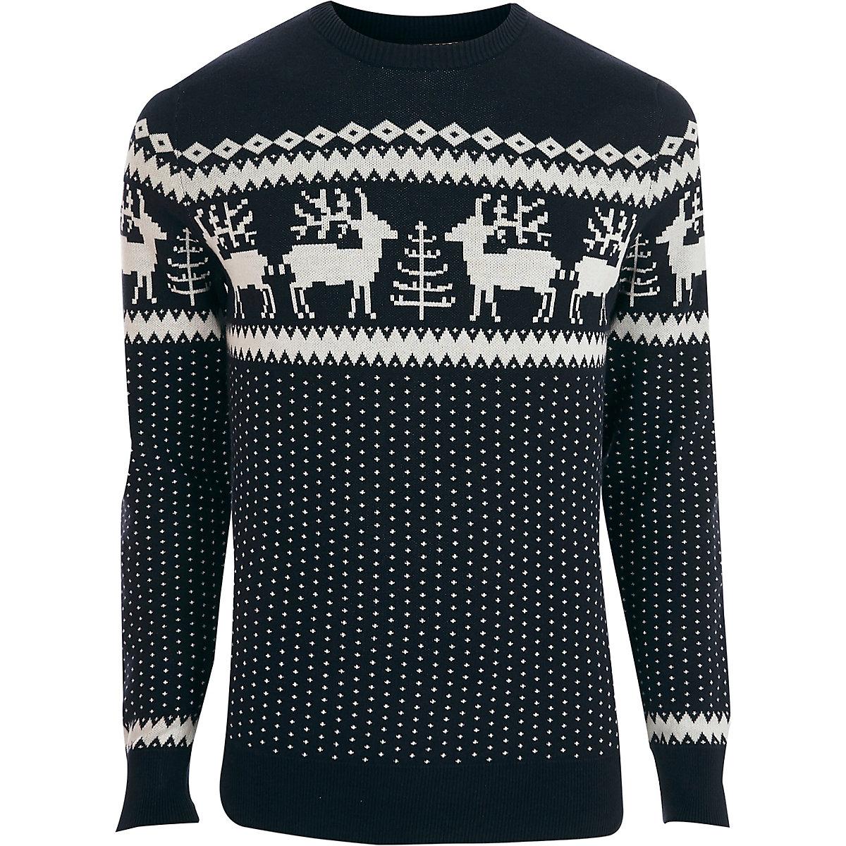 Jack & Jones Premium navy Christmas sweater