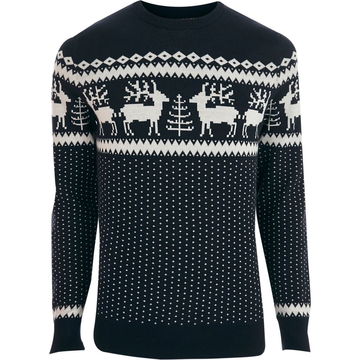 Jack & Jones Premium navy Christmas jumper