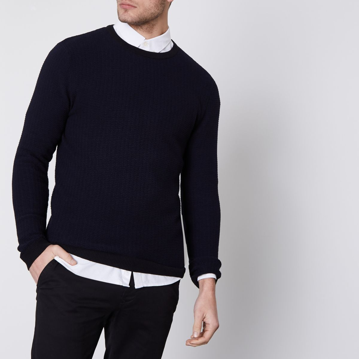Navy Jack & Jones Premium waffle knit sweater