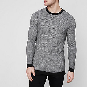Grey Jack & Jones Premium crew neck sweater