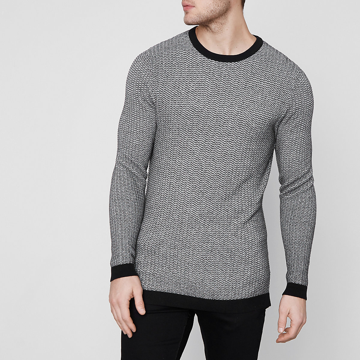 Jack & Jones Premium grey crew neck sweater