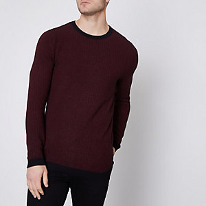Burgundy Jack & Jones Premium knit jumper