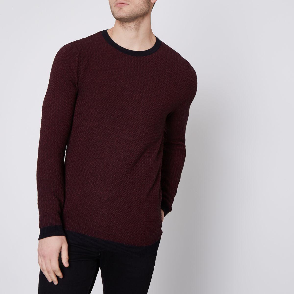 Jack & Jones Premium burgundy knit sweater