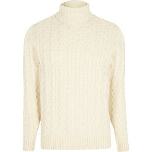 Jack & Jones white knit roll neck jumper