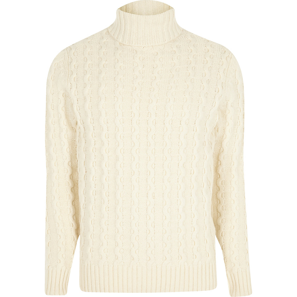 Jack & Jones white knit roll neck sweater