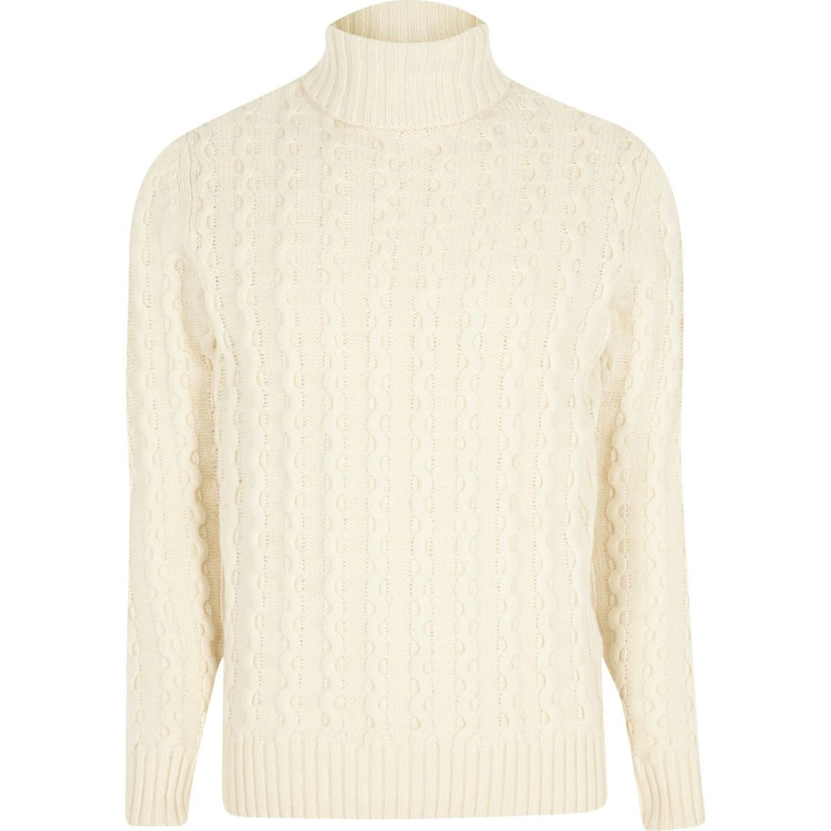 Jack & Jones white knit roll neck jumper