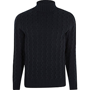 Jack & Jones premium navy roll neck sweater