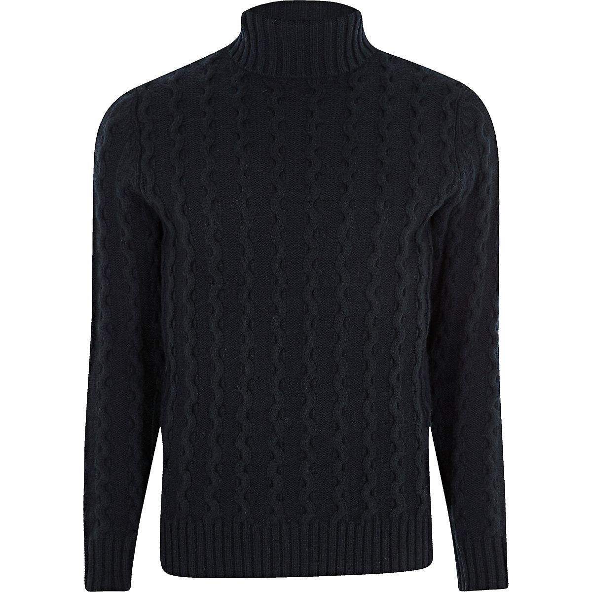 Jack & Jones Premium navy roll neck jumper