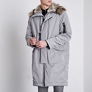 Grey faux fur lined double zip hooded parka
