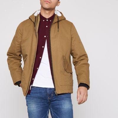 Khaki borg lined parka coat mens