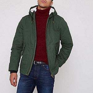 Groene jas met capuchon en borgvoering