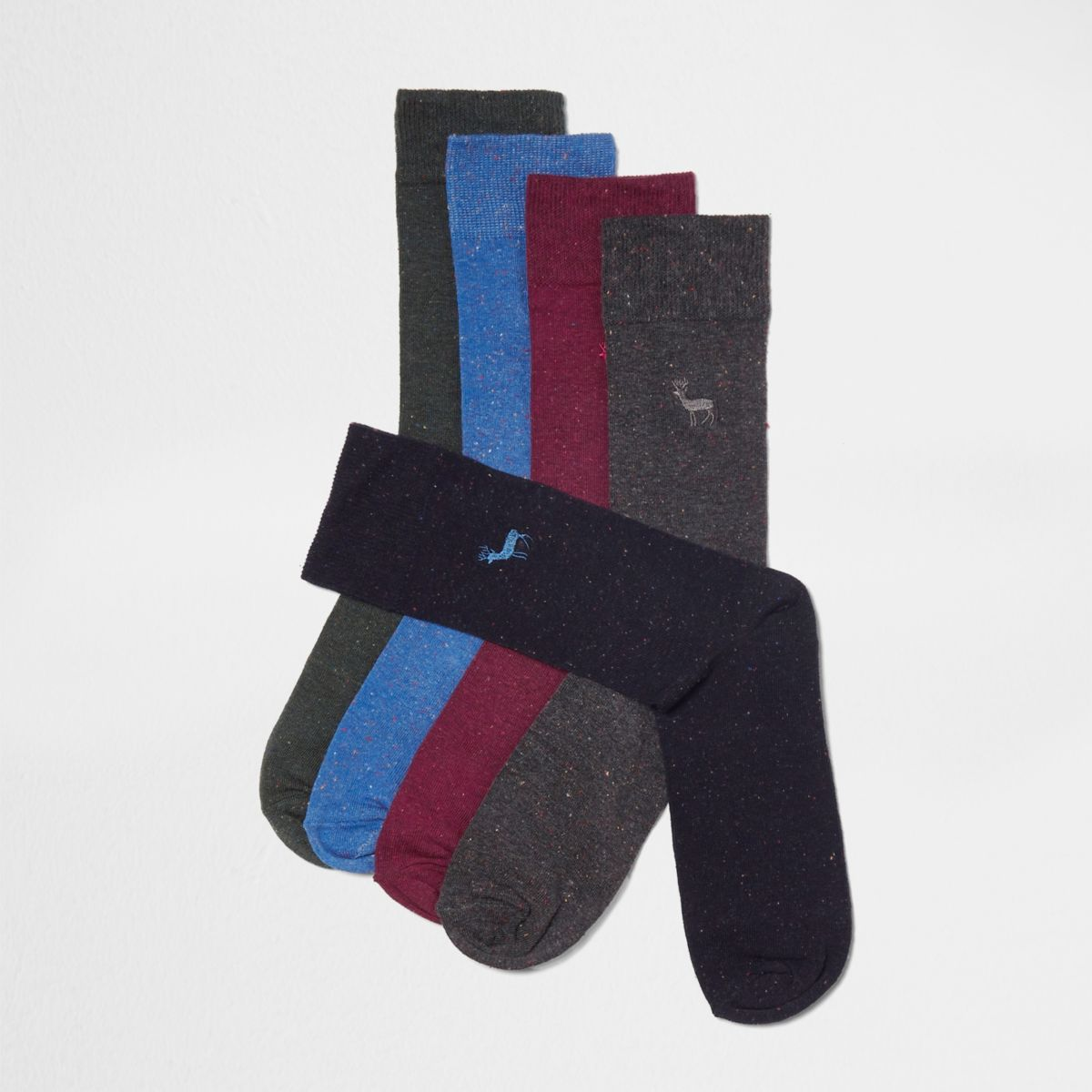 Navy stag embroidered socks multipack