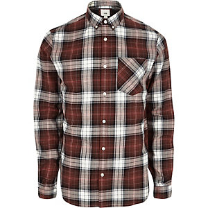 Red button-down long sleeve check shirt