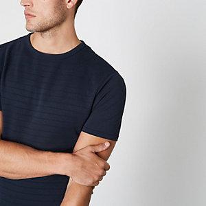Marineblauw aansluitend overhemd met korte mouwen