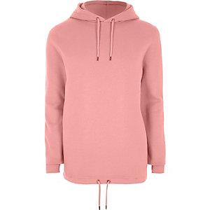 Pink drawstring hem hoodie