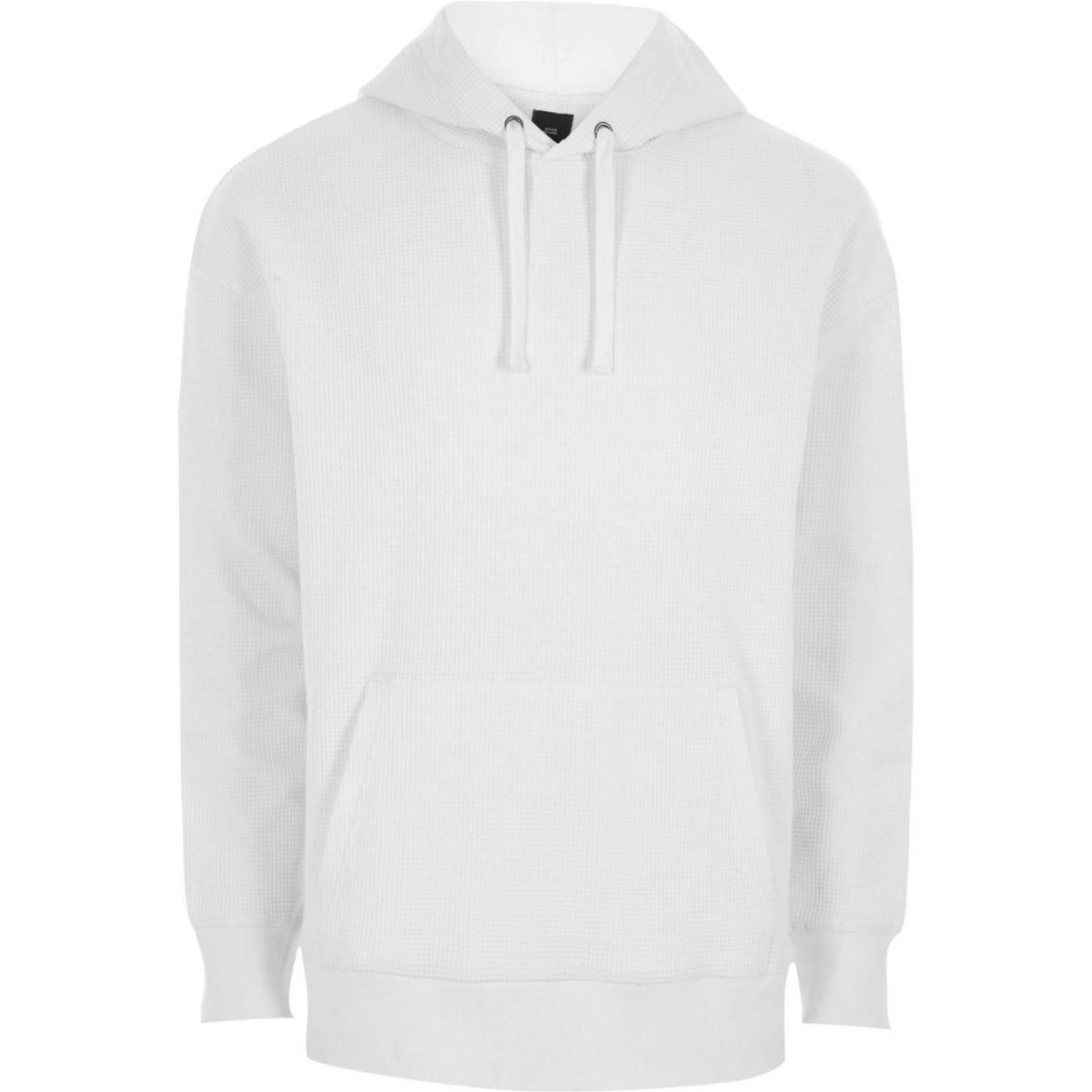 White waffle oversized hoodie