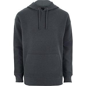 Donkergrijze oversized hoodie met wafeldessin