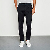 Navy belted chino pants