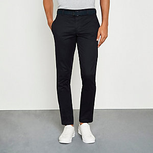 Navy belted chino trousers