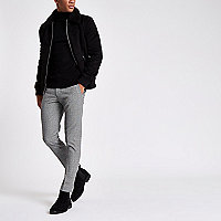 Black check ultra skinny fit smart pants