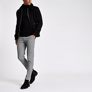 Black check ultra skinny fit smart trousers