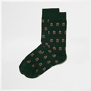 Socquettes vertes à petites fleurs motif chouette