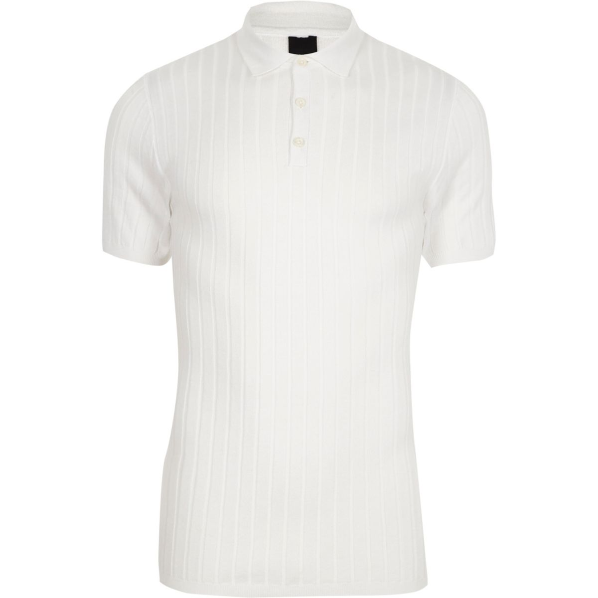 White rib knit muscle fit polo shirt