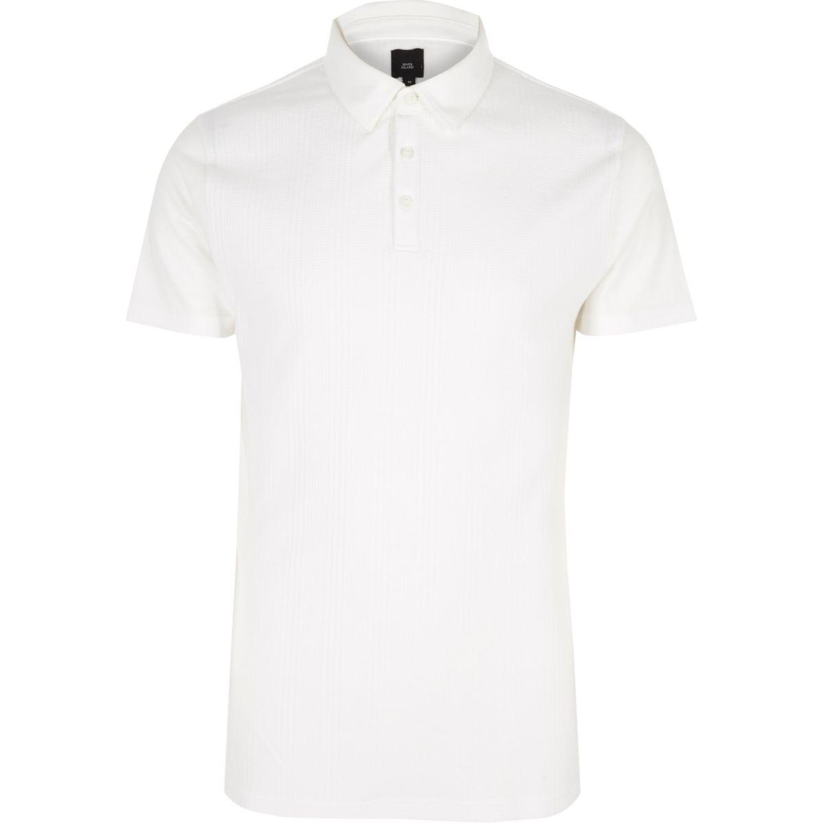 White slim fit waffle block polo shirt