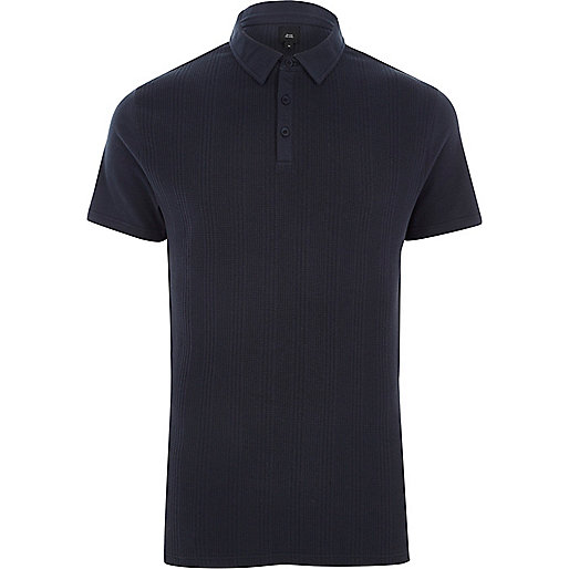 Navy slim fit waffle block polo shirt