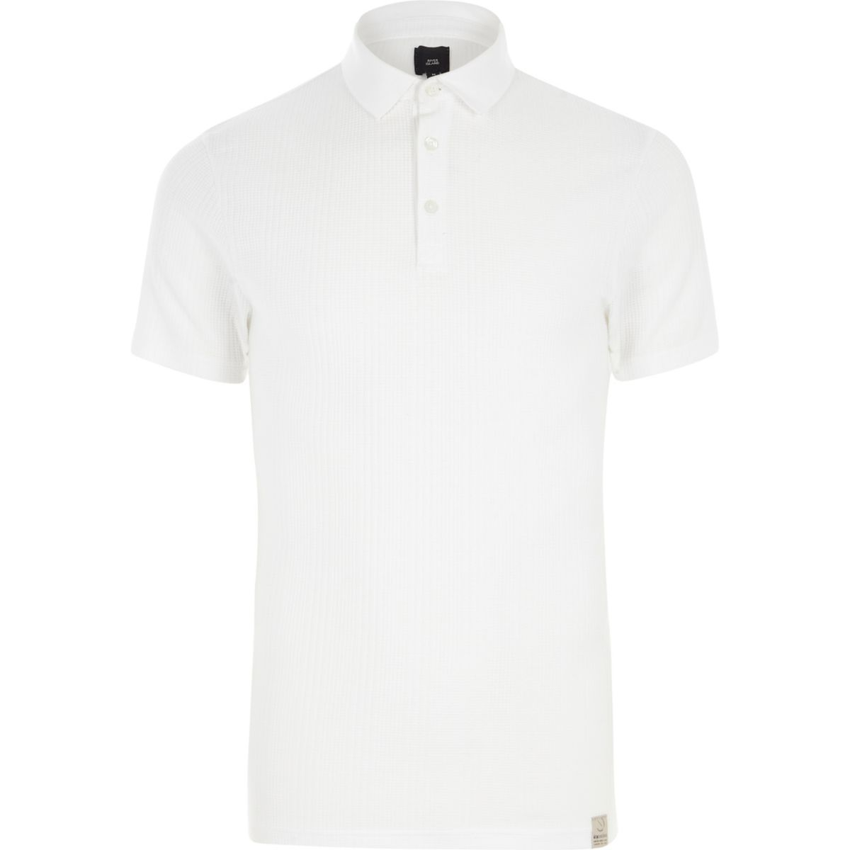 White muscle fit waffle block polo shirt