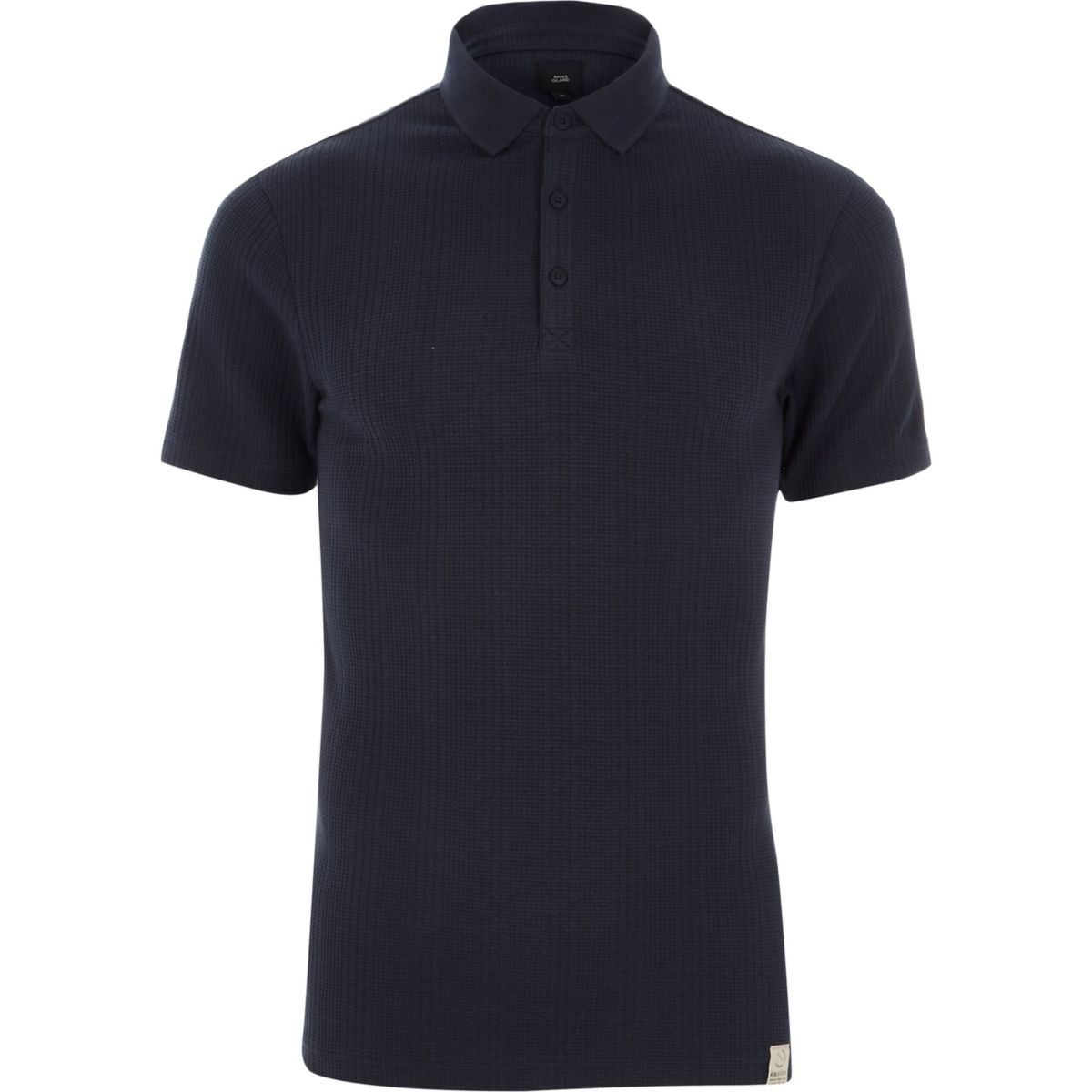 Navy muscle fit waffle block polo shirt