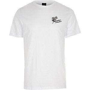 T-shirt slim blanc avec broderie sur le devant