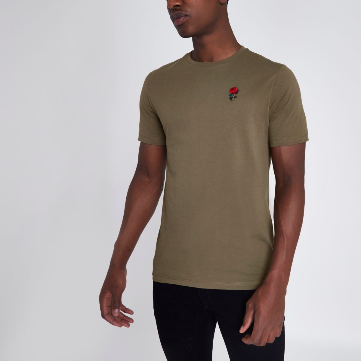 Khaki rose chest embroidered slim fit T-shirt