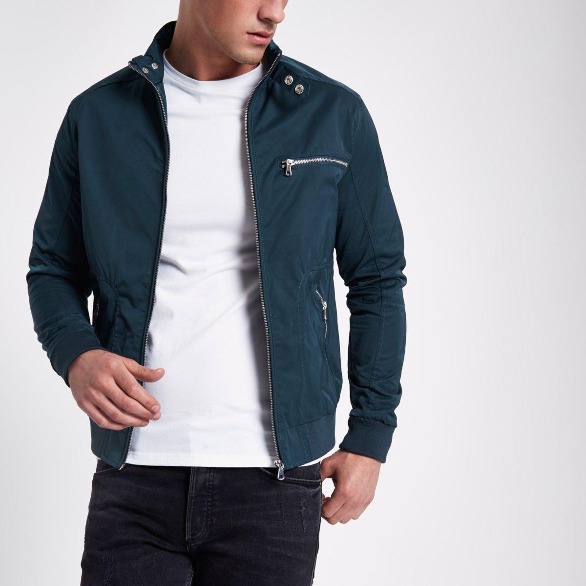 Dark turquoise racer neck jacket