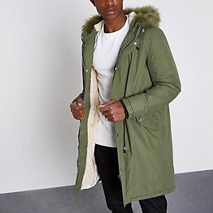 Khaki green faux fur lined longline parka