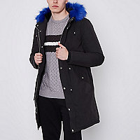 Black faux fur lined longline parka