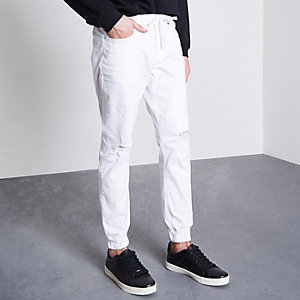 Ryan - Witte distressed jogging-jeans