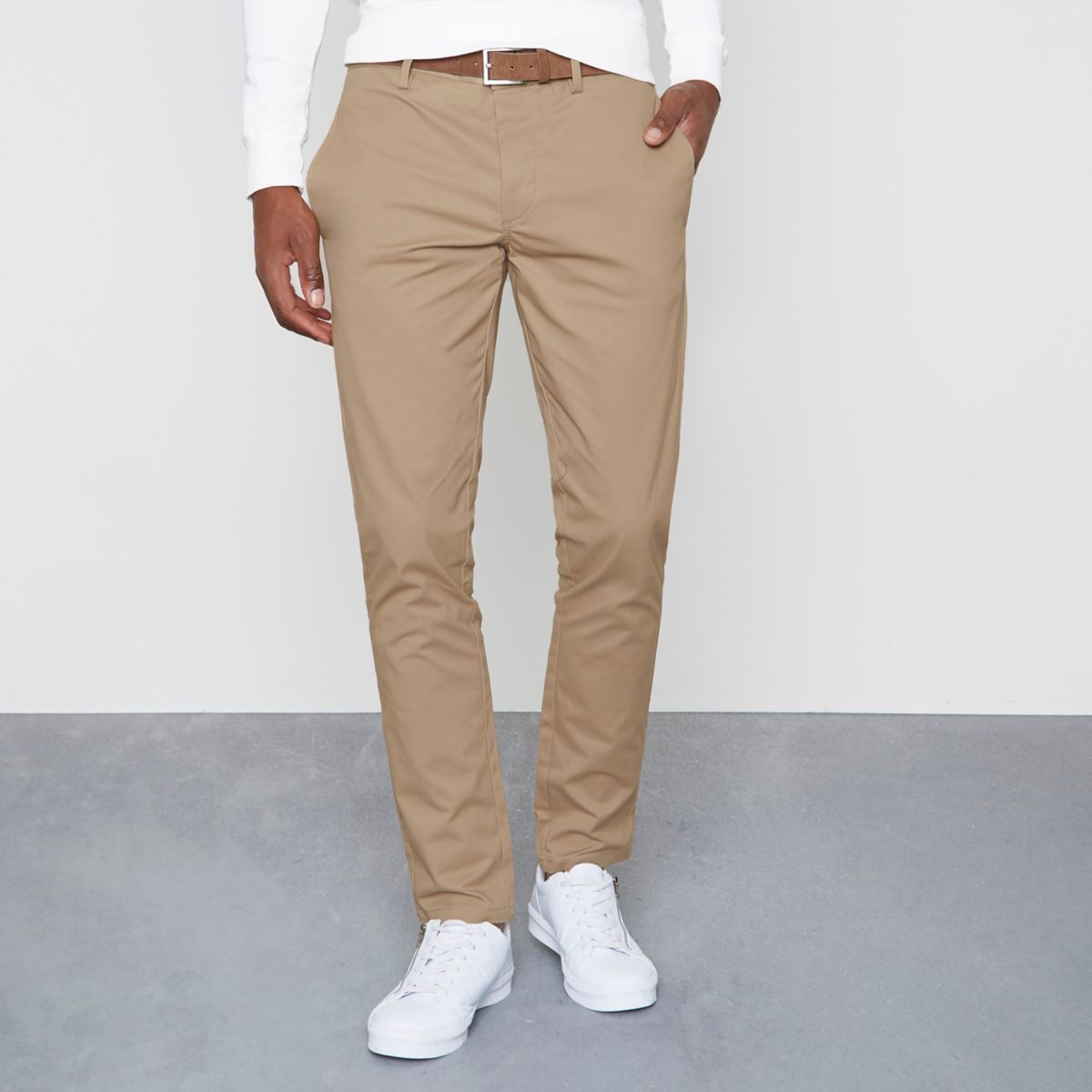 Tan slim fit belted chino trousers