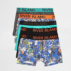 Blue floral snake print trunks multipack