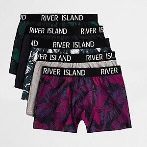 Multipack groene strakke boxers met palmenprint