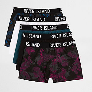 Red floral print trunks multipack