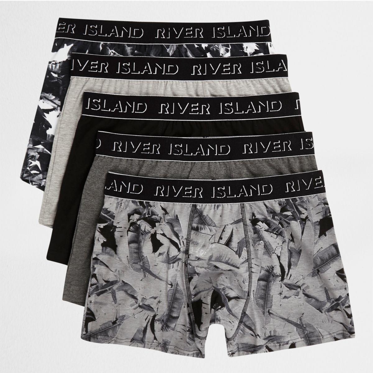 Multipack zwarte strakke boxers met bladerprint