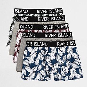 Multipack marineblauwe strakke boxers met palmenprint