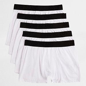 Lot de boxers longs blancs à taille contrastante